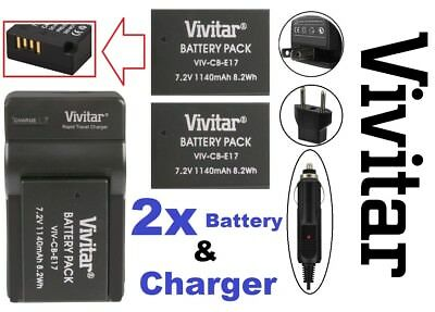 Hi Capacity 2-Pcs LP-E17 Li-Ion Battery With Charger For Canon