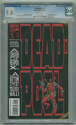 Deadpool 1 Cgc 9.6 White Pages 1St Solo Deadpool Comic The Circle Chase 1993