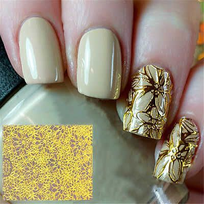 Embossed 3D Nail Stickers Tattoos Gold Blooming Flower Nail Decals Decoration
