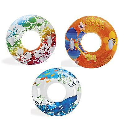 """38"""" Inflatable Pool Swim Rubber Ring Tyre Beach Tube & Handles Childrens/Adults"""