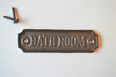 Antique style cast iron bathroom door sign plaque c/w screws GW2