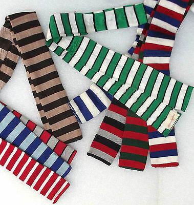 Square end tie Vintage Edwardian FOUR IN HAND original teddy boy SHORT striped