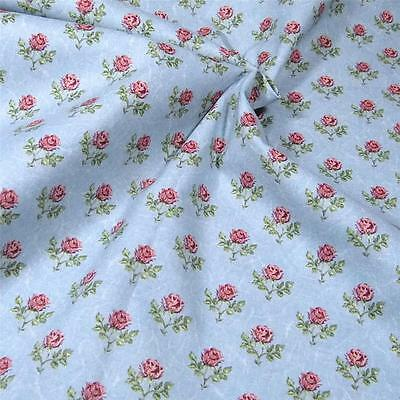 Vintage Cotton Fabric, Sweet, Small Pink Roses on Pale Blue, Per 1/2 Yard