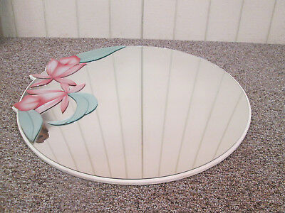 51703 Mid  Century Modern Floral Mirror in Fancy Wood Picture Frame