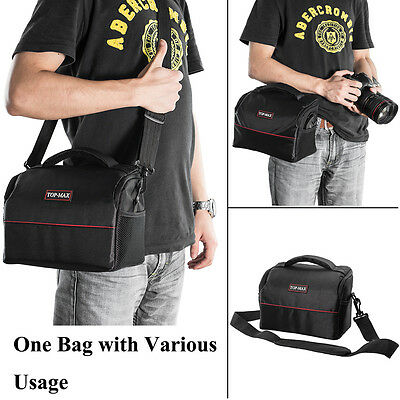 SLR DSLR Lens Camera Bag Carry Case For Canon Sony Cover + Rain Cover NEW