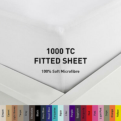 1000TC Microfiber 1pc Fitted Sheet [ONLY] Single/Double/Queen/Super/King Size