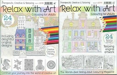Relax With Art Adults Colouring Book __ 2 Book Set __ Brand New __ Freepost Uk
