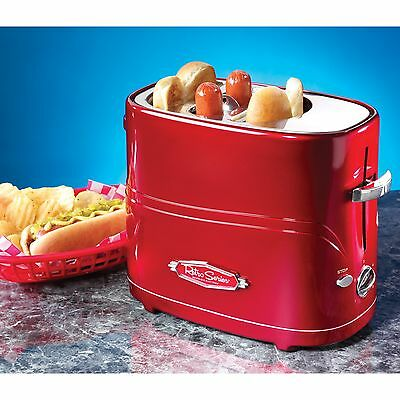 Nostalgia Pop Up Hot Dog Toaster All in One Red Retro Vintage Grill Bun Bread