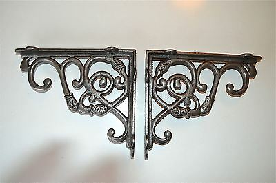 Pair of Antique cast iron brackets small fish design shelf brackets shelving GW4