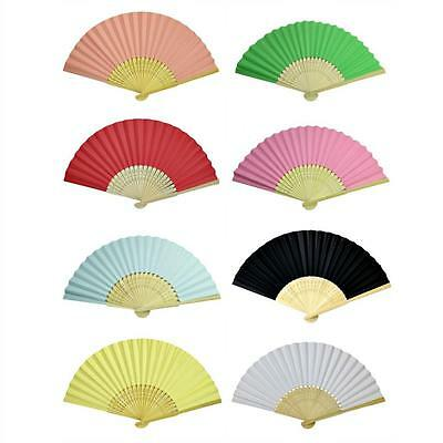 LOT OF 10 PAPER HAND FANS Folding Fan Wedding Party Favor NEW Bamboo Ten Pcs Set