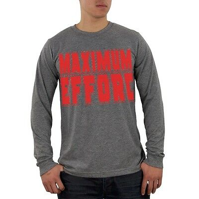 Maximum Effort Heather Grey Adult Soft Long Sleeve Blend T-Shirt