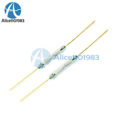 10PCS MKA-14103 Gold Tone Leads Glass N/O SPST Reed Switches 10-15AT 2 x 14mm AL