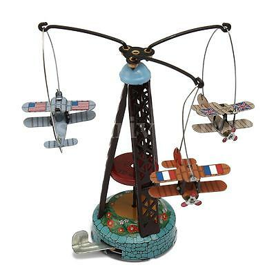 Vintage Wind Up Rotating Airplane Carousel Clockwork Tin toy Collectible Gift