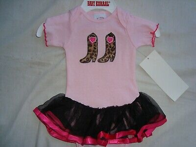 PINK Western Ballerina Cowgirl One Piece Sz 12 M  Leopard Cowgirl Boots  NWT