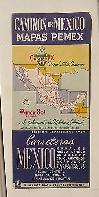 1956 Mexico caminos  road  map Pemex  gas oil September issue