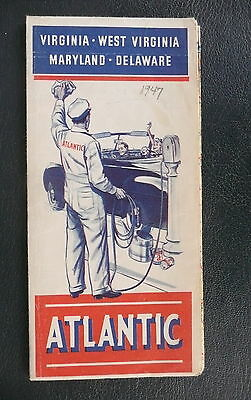 1947 Virginia West Virginia Maryland Delaware road  map Atlantic  gas oil