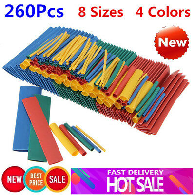 260x 8 Size Ratio 2:1 Heat Shrink Tubing Tube Sleeving Wrap Wire Cable Connector