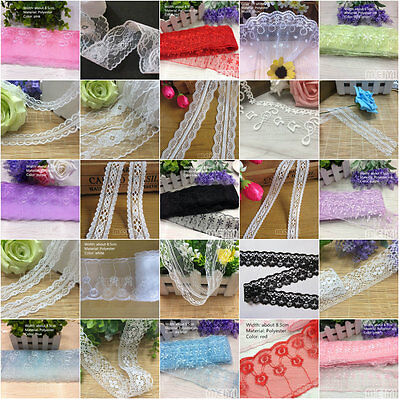 10 Yards Embroidered Net Lace Edge Trim Ribbon Wedding Applique DIY Sewing Craft