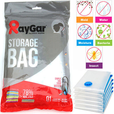 6 X Large Space Saving Storage Vacuum Bags Clothes Bedding Organiser 80X100Cm