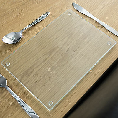 Rippled Clear Glass Placemats Rectangle Tableware Dinner Dining Table Mat Set