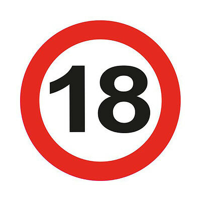 18Th Birthday Giant 12Cm Flashing Led Badge Traffic Sign Age Party