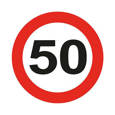 50Th Birthday Giant 12Cm Flashing Led Badge Traffic Sign Age Party