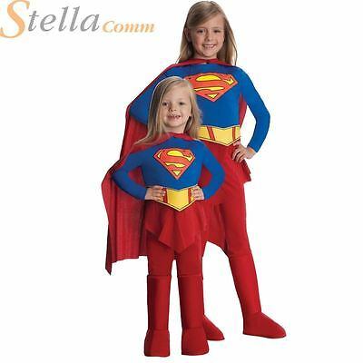 Girls Deluxe Supergirl Kids Superhero Fancy Dress Costume Outfit