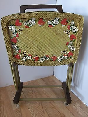 Metal Tv Tray Set Stand 5 Pc Butterflies Strawberries Daisies Lavada Mid Century