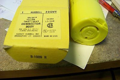 Hubbell hbl 2313vy connector body yellow valise twist-lock 20amp 125v 2 pole 3wr