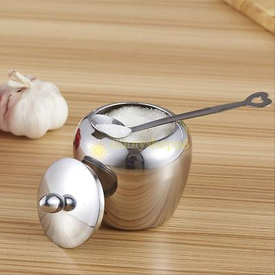 Single Stainless Steel Apple-shape Kitchen Sugar Bowl Condiments Container New