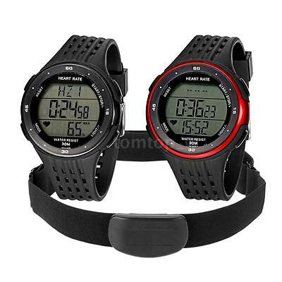 10-in-1 Fitness Pulse Heart Rate Monitor Watch &Chest Strap Pedometer Alarm E4P1