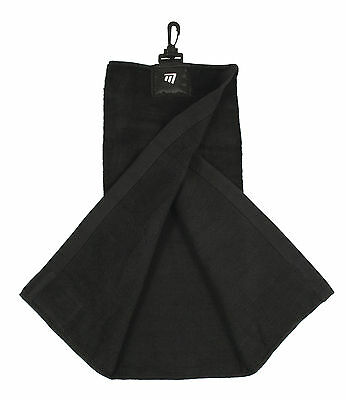 New Masters Golf Black Tri-fold Towel with Club Cleaner Patch - clips to bag