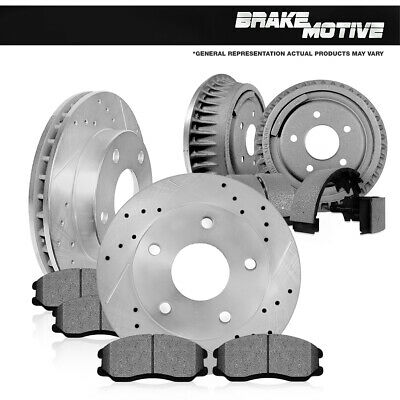 Front Brake Rotors + Ceramic Pads Rear Drums + Shoes For Cherokee Wrangler