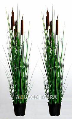 2x VELDA TYPHA MINIMA S ARTIFICIAL TALL PLASTIC PLANT POT POND GARDEN HOUSE ROOM