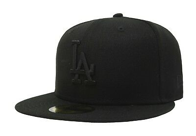 New Era 59Fifty Men Women Los Angeles Dodgers Hat Cap All Black Baseball LA