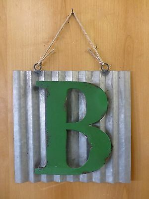 "10"" CORRUGATED INDUSTRIAL METAL SIGN LETTER ""B"" GREEN vintage rustic wall decor"