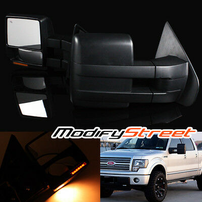 For 07-14 Ford F150 Power/heated Lh/rh Towing Side Mirrors W/ Led Puddle Lights