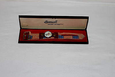 "EX!""AMERICAN FLAG"" DISNEY1960's MICKEY MOUSE WIND-UP ""MOD STYLE"" WRISTWATCH+CASE"