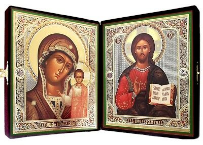 Wedding Gift Russian Icon Diptych Christ Madonna and Child Our Lady of Kazan