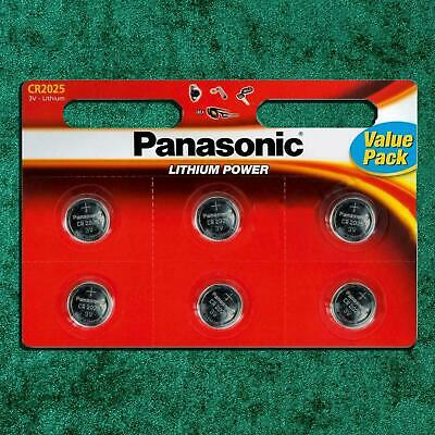 6 x Panasonic CR2025 3V Lithium Coin Cell Batteries 2025 Watches Key Fobs Alarms
