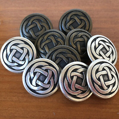 5 x Celtic knot  metal buttons sizes 15mm 19mm 22mm Bronze or silver colour