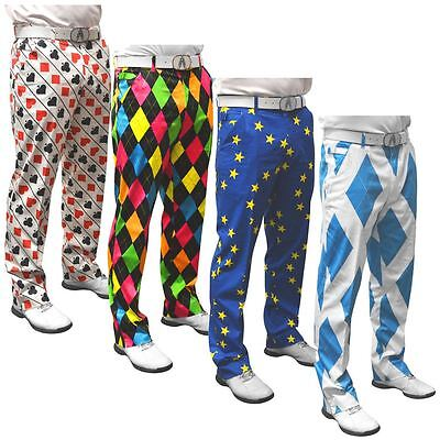 Royal & Awesome Cotton Funky Mens Golf Flat Front Trousers