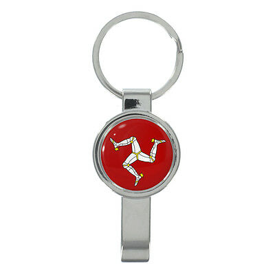 Isle Of Man Flag Cap Remover Manx Channel Isle UK Country Keyring New Exclusive