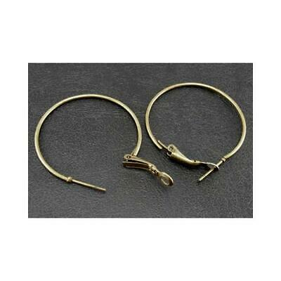 Packet 10 x Antique Bronze Plated Iron Round Earring Wires 35mm HA12280