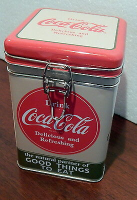 Drink Coca Cola Square Lock Top Tin w/ Good Things to Eat design for Coffee Tea+