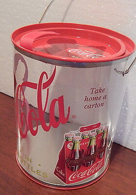 Clear Paint Can Coca Cola Plastic/Metal Canister wire bail handle Coke brand NEW
