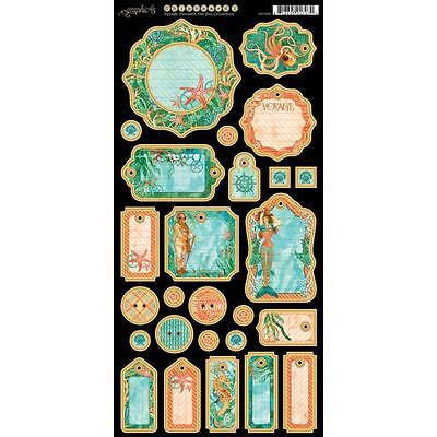 GRAPHIC 45 ~ VOYAGE BENEATH THE SEA ~ Chipboard Tags Set 1