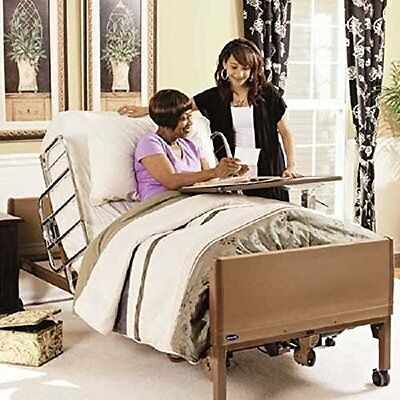 Full Electric Hospital Bed Package (Mattress + Full Rail) + Bonus Overbed Table