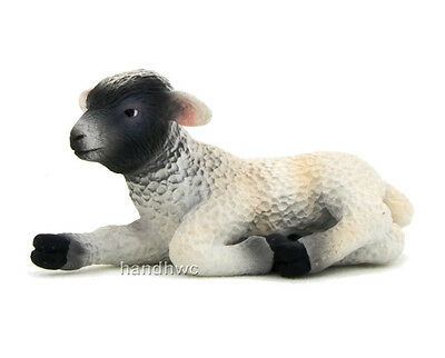 Mojo Fun 387060 Black Faced Lamb Lying - Realistic Farm Animal Toy Replica - NIP