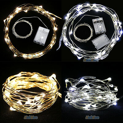 2Set 10FT Battery Powered Copper Wire 30Led String Fairy Light Pure & Warm White